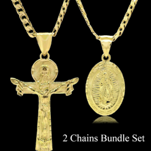 "18k Guadalupe + Cross Pendants w/24"" & 30"" Cuban Chains"