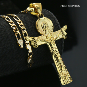 "Jesus Risen Cross 14k Pendant 18"" Figaro"