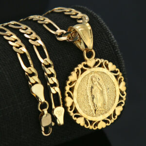 18k GP Virgin Mary Pendant Figaro Chain