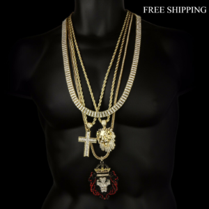 14k Lions/Cross HipHop Jewelry Bundle Set