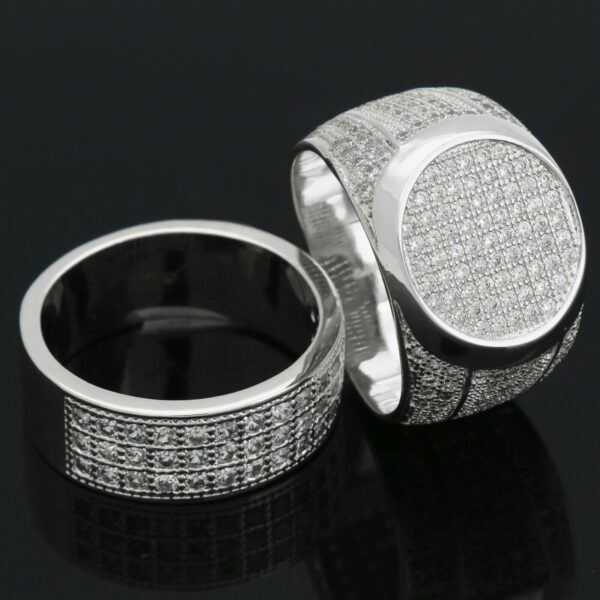 Silver Plated Round Flat Micro-pave Pinky Ring