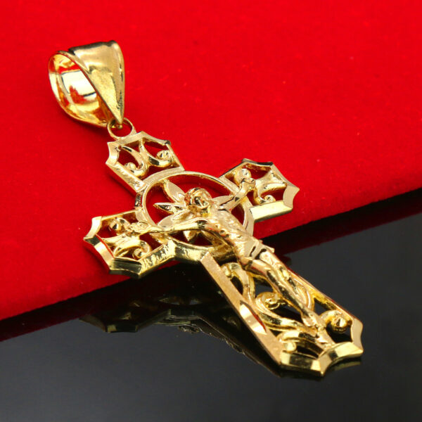 "Jesus Halo Cross 14k Gold PT Brass Pendant 18"" Figaro Chain"