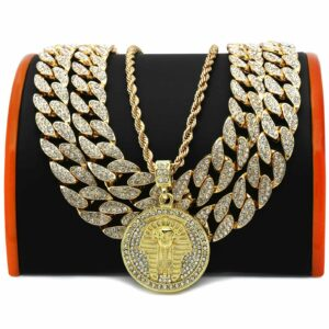 "4 pcs Bundle 18k Gold Plated Pharaoh Pendant( CZ 20"", 20"" Cuban + 24 Rope Chain)"