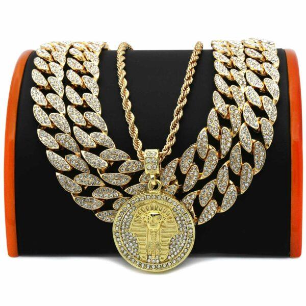 "4 pcs Bundle 18k Gold Plated Pharaoh Pendant( CZ 20"", 20"" Cuban + 24 Rope Chain)"