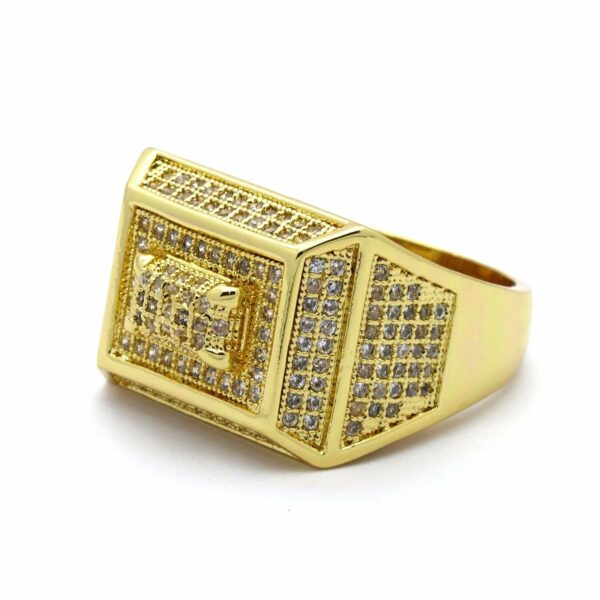 14K Gold Plated Rectangle 3D Dome Ring