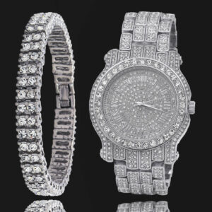Iced Out CZ Silver Plated Watch/Bracelet