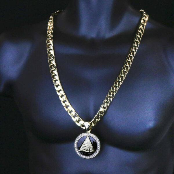 "14k GP Eye of Horus Pendant 30"" Cuban Chain & Bracelet"