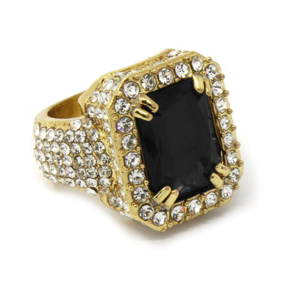 14K Gold Plated Black Ruby Cz Ring