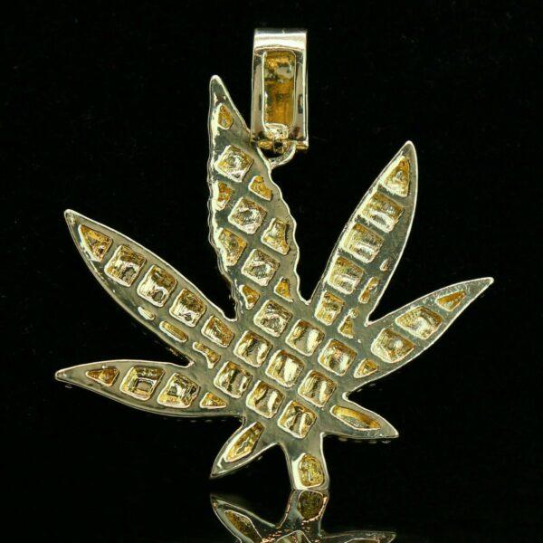 """14k Gold PT Leaf Pendant 24"""" Franco Chain"""