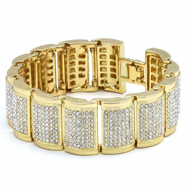 14k Gold PT Iced Fully Cz Watch & Bracelet Dome Wrist Link