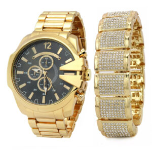 14k Gold PT Iced Dome Fully Cz Bracelet & Watch