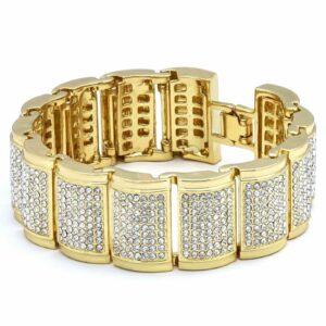 14k Gold PT Iced Dome Fully Cz Bracelet & Watch