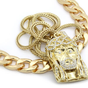 "14k Gold Plated 20mm 30""inch Big Cuban & Beard Jesus Bundle w/ 4mm 36"" Franco Chain"