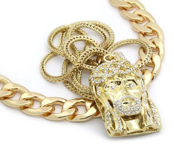 "14k Gold Plated 20mm 30""inch Big Cuban & Beard Jesus Bundle w/ 4mm 36"" Franco Chain"