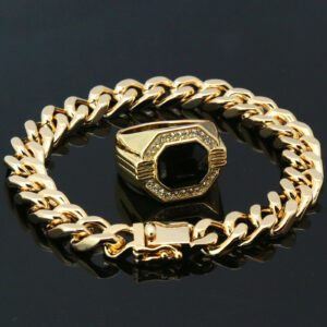 "14k Gold PT 8mm Chunky Dome 8.5""Cuban Bracelet Black Ruby Ring"