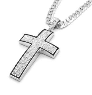 Silver/Black Cross Pendant & Cuban Chain