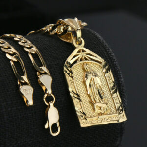 "Virgin Mary 14k GP w/18"" Figaro Chain"
