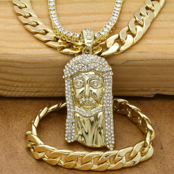 """14k Gold Plated JESUS Pendant with 24""""Tennis, 30"""" Cuban Chain and Bracelet"""