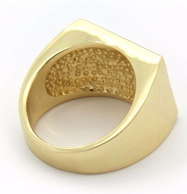 Mens 14K Gold Plated Rectangle Dome Middle Cz Ring