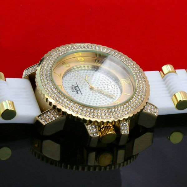 14k Gold PT 7 Row Curve Pimp Ring / Techno Watch Fully Cz White Band