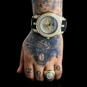 14k Gold PT Round Dome Pimp Iced Ring / Techno Watch