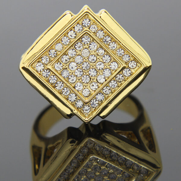 14K Gold Plated D-shape Hollow Sides Cz Ring