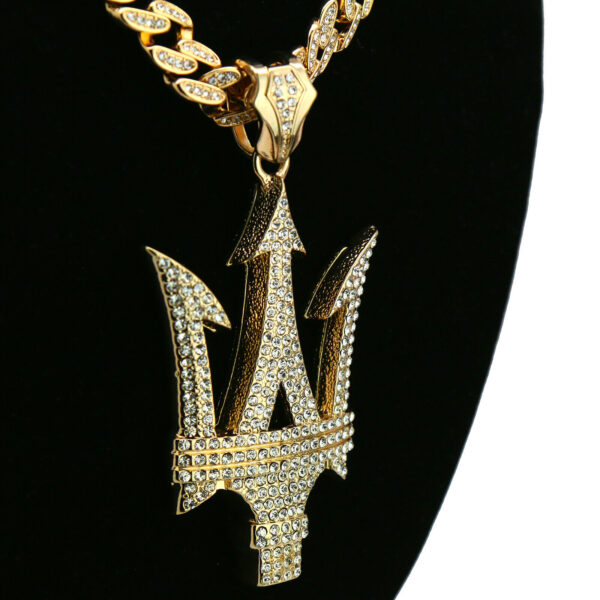 "14k Gold PT Large Poseidon Trident Shield Pendant 20"" Cuban Chain"