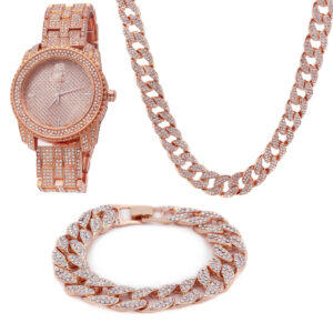 Rose Gold Plated Cuban Chain Fully CZ & Bracelet + King watch