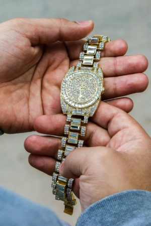 "14k Gold Plated Chunky Watch Dome Lab Diamond 9"" Inch Bracelet"