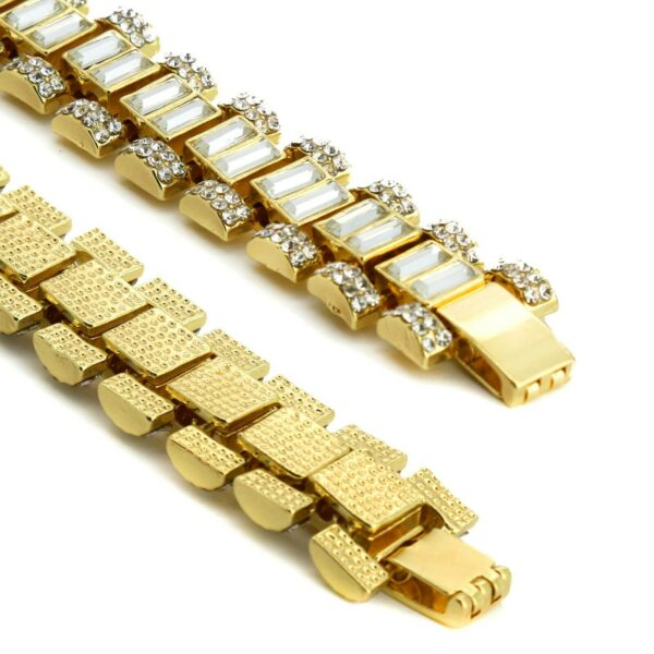 "14k Gold Plated Chunky Watch Dome Lab Diamond 9"" Inch Bracelet"