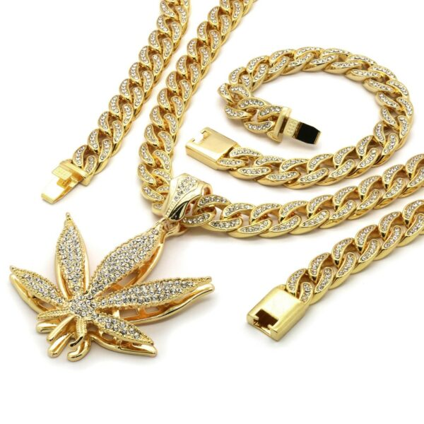 14k Gold Plated Marijuana Pendant CZ Cuban Chain & Bracelet