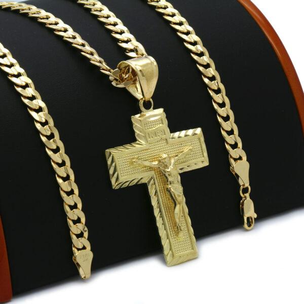 18k GP JESUS CROSS(L) Pendant Cuban link