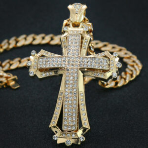 14k Gold PT Large Sharp Hollow Cross Pendant 20