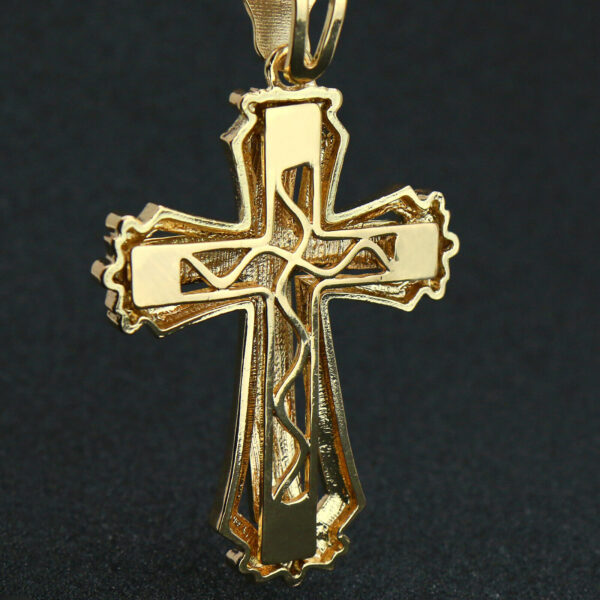 "14k Gold PT Large Sharp Hollow Cross Pendant 20"" Cuban Chain"