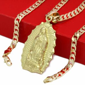 18k Gold Plated Hip Hop Guadalupe Brass Pendant 6mm 24