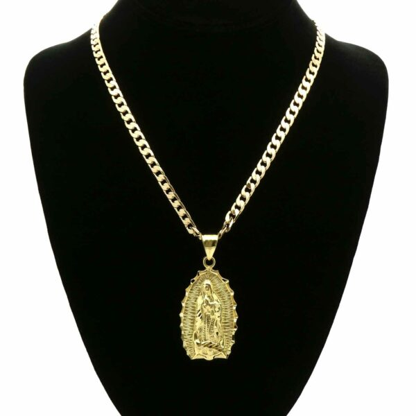 "18k Gold Plated Hip Hop Guadalupe Brass Pendant 6mm 24"" Cuban Chain"