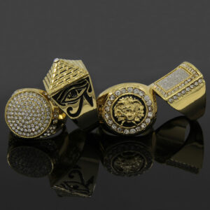 14K Gold Plated Hip Hop Cz 4 Rings Bundle w/Medusa Pendant