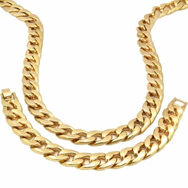 """14k GP XL Black CROWN Pendant 30"""" Cuban Chain & Bracelet"""