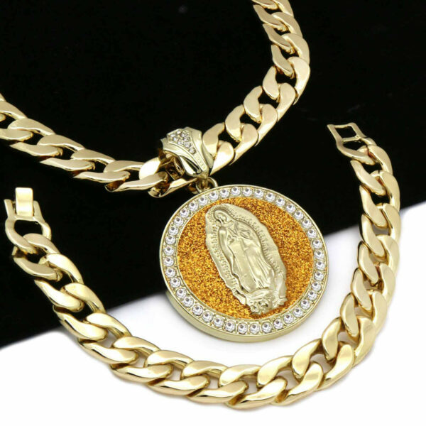 "14k Gold Plated XL Guadalupe Pendant with 30"" Cuban Chain and Bracelet"