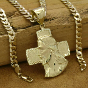 "18k Gold Plated Brass ""Jesus face with Cross"" Pendant 6mm 24"" Cuban Chain"