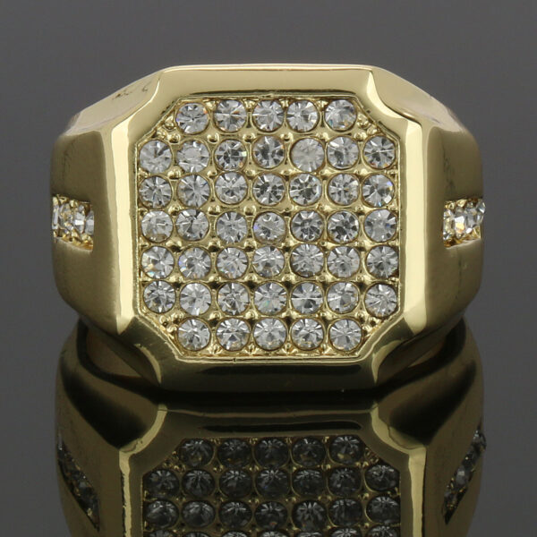 14K Gold Plated Shield Face 1line Cz Side Ring
