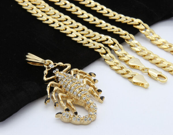 "14k Gold Plated Scorpion King Cz Pendant 24"" Cuban Chain"