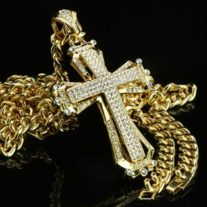 "14k Gold Plated CROSS Pendant 30"" Cuban"