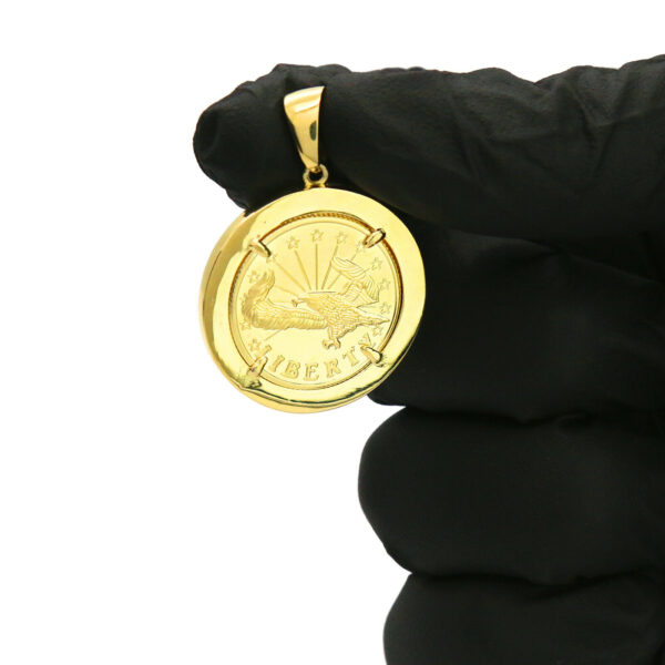 """14k Gold Plated Liberty Round Medallion 30"""" Cuban Chain"""