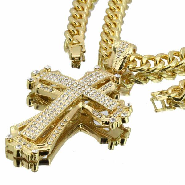 "14k Gold Plated CROSS Pendant 30"" Cuban"