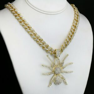 "14k GP Tarantula Spider Pendant 22"" Iced Out Cuban Choker Chain"