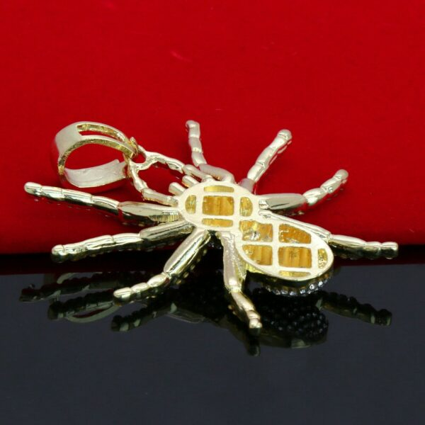 "14k GP Tarantula Spider Pendant 22"" Iced Out Cuban Choker Chain"