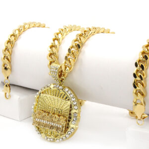 "14k Gold Plated Last Supper CZ Pendant 30"" Cuban Link"