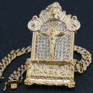 "Last Supper Jesus Temple Pendant Gold Pt 20""Cuban Choker"