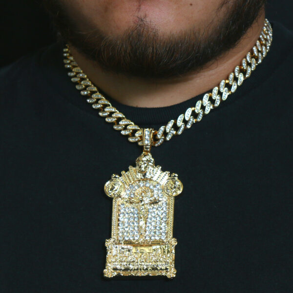 "Last Supper Jesus Temple Pendant Gold Pt 20""Cuban Choker"